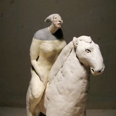 Small Woman With Her White Horse Amazon / Two by annakozlowskaluc Clay Art, Folk Art, Sculpting, Illustration Art, Anna, Spirit, Horses, Statue, Woman