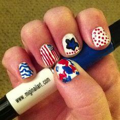Memorial Day Nails using Migi Nail Art (miginailart.com) check out www.ThePolishObsessed.com for more nail art ideas.