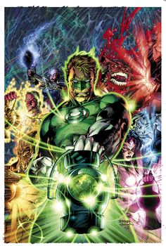 Green Lantern Hal Jordan and the leaders of the all the colored Lanterns - art by Jim Lee.