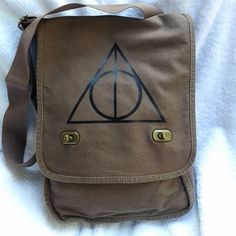 Deathly Hallows Canvas Messenger Field Bag Custom Messenger with black graphic Deathly Hallows design inspired by Harry Potter and the Snape and Lily Love Story. I'll forever and always love Harry Pot