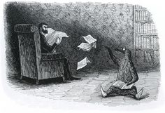 """1957 Edward Gorey (American author, illustrator, 1925-2000) ~ """"I had a dream about this last night"""" (The Doubtful Guest)"""