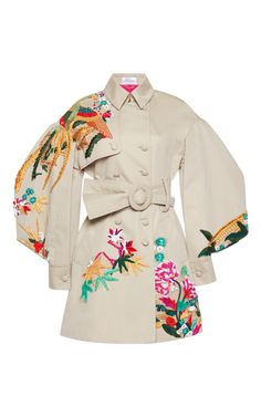 Multicolor Embroidered Trench Coat Puff Sleeves by ZUHAIR MURAD for Preorder on Moda Operandi