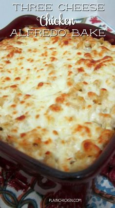 Three Cheese Chicken Alfredo Bake - great make-ahead pasta dish. Elbow macaroni, alfredo sauce, sour cream, ricotta, garlic, chicken, eggs, parmesan and mozzarella cheese. SO good!! We make this at least once a month! Can freeze half for later. This is THE BEST pasta casserole we've ever eaten!!!