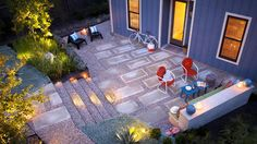 Gravel and concrete paver patio, gravel and corton steel stairs. desire to inspire - desiretoinspire.net - Creative & Sons