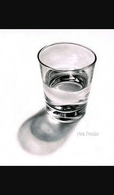 Realistic Drawings How to draw a glass drawing tutorial. realistic drawing of a glass of water. Realistic Pencil Drawings, 3d Drawings, Water Drawing, Painting & Drawing, Drawing Lessons, Art Lessons, Drawing Ideas, Object Drawing, Still Life Drawing