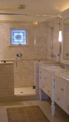 Master Bathroom Tile Pattern Subway On Bottom And Herringbone Top Or Just Thick Band Of With Small Square Floor