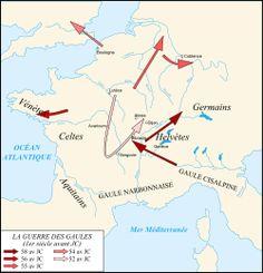 Les différentes campagnes de la Guerre des Gaules. - Vercingétorix. 3 La GUERRE DES GAULES. 3.2: la guerre des Gaules: 7: La guerre commence et va durer 6 ans. Jules César conduit avec succés les aigles romaines au-delà du Rhin et en Bretagne (l'actuelle Grande-Bretagne). La guerre va s'échelonner en de nombreuses campagnes menées chaque année par les tribus insoumises. En -58, César décide d'intervenir pour empêcher les Germains d'Arioviste de menacer la paix en Gaule.