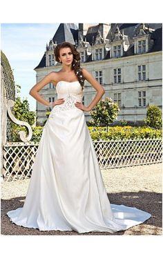 A-line Strapless Chapel Train Satin Wedding Dress