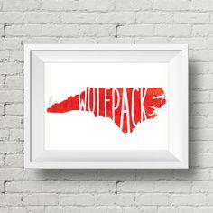NC State Wolfpack - Watercolor - Digital Art Print by LulusLetterCo on Etsy https://www.etsy.com/listing/234247652/nc-state-wolfpack-watercolor-digital-art