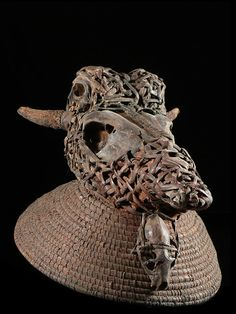 Africa | Crest mask with cow and monkey skulls from the Bulu / Boulou (Fang group) peopleof Cameroon