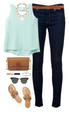 """minty"" by classically-preppy ❤ liked on Polyvore featuring J Brand, Ganni, Cooper & Ella, Tory Burch, Kate Spade, Ray-Ban, NARS Cosmetics, J.Crew, women's clothing and women"