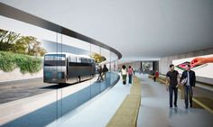 Rendering of Bus transportation waiting area at Apple Campus 2