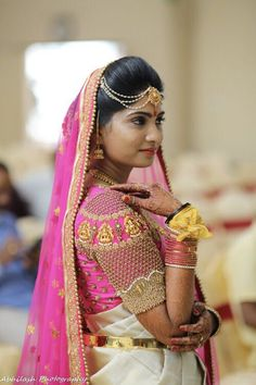 18 Beautiful Brides And Their Exquisite Jewelled Blouses Wedding Saree Blouse Designs, Silk Saree Blouse Designs, Fancy Blouse Designs, Maggam Work Designs, Designer Blouse Patterns, Blouse Models, Work Blouse, Pictures, Photos