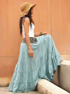 Long Skirt ... Boho Skirt ...Full Length Skirt ..Color Green.... Maxi Skirt ...Soft and Floaty