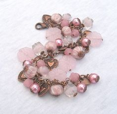 Pink and Copper Allure - Charm Bracelet By: FallenAngelDesigns