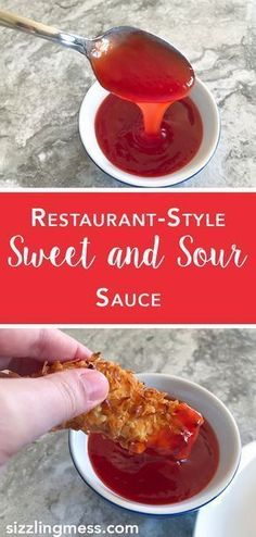 Restaurant style sweet and sour sauce. Exactly like Chinese .- Restaurant style sweet and sour sauce. Exactly like Chinese takeout sauces. Restaurant style sweet and sour sauce. Exactly like Chinese takeout sauces. Authentic Chinese Recipes, Chinese Chicken Recipes, Easy Chinese Recipes, Asian Recipes, Homemade Chinese Food, Healthy Recipes, Simple Recipes, Healthy Food, Healthy Eating