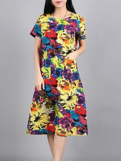 Women Floral Print Loose Pocket Vintage Dresses