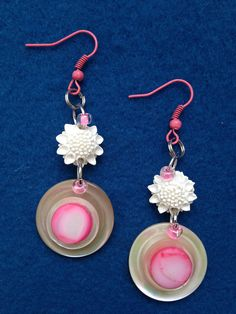 Fashionable Pink and Cream Feminine Button Earring, Pearlesence Button Earring, Dangle Earring with Plastic Molded Flower Finding and Button by CatterflyStudios on Etsy