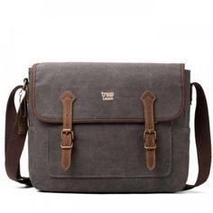 Troop London Heritage Canvas Leather Messenger Bag, i WASHED BLACK fra bagstore.no, kr 649,-
