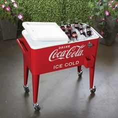 80-Quart Rolling Retro Coca-Cola Cooler - get the party rolling!