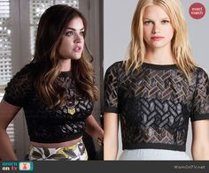 Aria's leather and mesh crop top on Pretty Little Liars.  Outfit Details: http://wornontv.net/46046/ #PLL