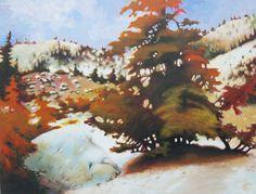 """Katya Coad, Fall In (Mt. Lassen, CA), 40"""" x 30"""", Acrylic on canvas - SOLD"""