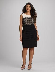 dc6b2ea2a Plus Size Lace Colorblock Dress