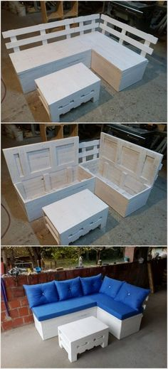 You can create this wooden pallet sofa with a table. This set can be used either indoor or outdoor. You have to cut the foam in the shape of this sofa. You have to color this entire furniture set in the identical shades.