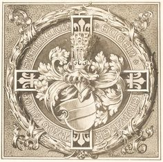 Exlibris of Archduke Eugen of Austria-Teschen Grand Master of the Teutonic Order, by Ernst Krahl. Ex Libris, Archduke, Holy Roman Empire, Austro Hungarian, The Grandmaster, Floral Border, Coat Of Arms, Middle Ages, Austria