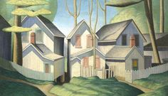 Summer Houses, Grimsby Park, Ontario, 1926, by Lawren Harris, is showing in the Art Gallery of Nova Scotia's exhibit, Canadian Pioneers: Tom...