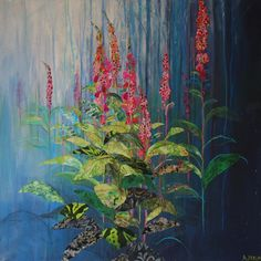 Foxgloves by Anna Perlin – Dry Red Press Abstract Landscape, Landscape Paintings, London Art, Art Fair, Tag Art, Contemporary Artists, Mixed Media Art, Collage Art, Bunt