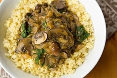 Cozy Millet Bowl with Mushroom Gravy and Kale.  Even on a hot summer day, this is great!  I subbed barley for the millet and added 3 C kale instead of 1.  It's delicious!