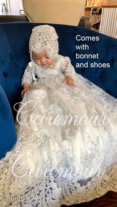 Luxury Christening Gown Lace Pearl Long Sleeve Vintage Baptism Dress With Bonnet Christening Gowns For Girls, Girls Baptism Dress, Baby Girl Baptism, Baptism Gown, Baby Christening, Baby Girl Dresses, Baby Dress, Baby Kostüm, Blessing Dress