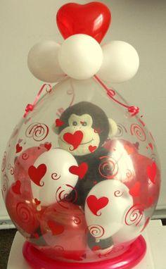 Stuffed Balloon Balloon Crafts, Balloon Gift, Balloon Arch, Balloon Centerpieces, Balloon Decorations, Balloon Ideas, Valentines Balloons, Valentines Diy, Valentine Bouquet