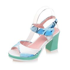 Women's Open Toe Hook-and-Loop PU Assorted Color High-Heels Sandals, Blue, 38 Open Toe High Heels, Platform High Heels, Korean Shoes, Plus And Minus, Shoes Heels, Pumps, Blue Sandals, Wedges, Amazon