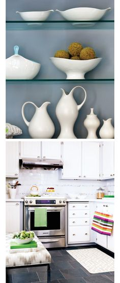 white bowls & vases on gray-blue background Beautiful Kitchens, Cool Kitchens, Farm Cafe, Museum Cafe, Cafe Interiors, Kitchen Goods, Cafe Style, Condo Living, Sun Room