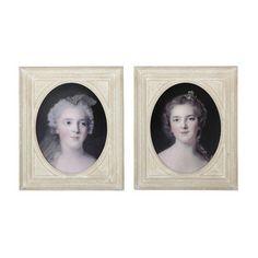 2 POMPADOUR wooden framed pictures, beige 50 x 60cm