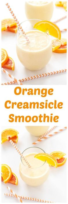 This Orange Creamsicle Smoothie is bursting with citrus flavor! A creamy, sweet smoothie with the perfect combination of orange and vanilla! Orange Creamsicle Smoothie Recipe, Smoothie Fruit, Yummy Smoothies, Smoothie Drinks, Breakfast Smoothies, Yummy Drinks, Healthy Drinks, Yummy Food, Healthy Recipes
