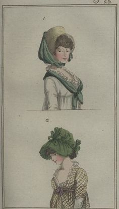 I could definitely re-cover my bonnet to acheive the bottom style. Regency Dress, Regency Era, Vintage Outfits, Vintage Fashion, Steampunk Fashion, Gothic Fashion, Illustrations, Illustration Art, Battle Of The Nile