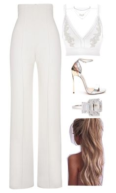 A fashion look from April 2017 featuring v neck crop top, white trousers and ankle tie sandals. Browse and shop related looks. Dressy Outfits, Night Outfits, Stylish Outfits, Summer Outfits, Elegantes Outfit, Looks Chic, Christian Dior, Mode Inspiration, Aesthetic Clothes
