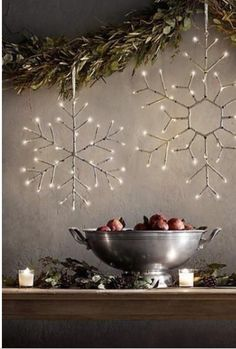 Lighted snowflakes on a garland