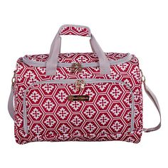 Featuring a stylish snow flake pattern, the Jenni Chan Aria Snow Flake City Duffle Bag is an elegant and helpful way to organize your belongings. With a roomy interior, dual handles, and an adjustable shoulder strap, this duffle is ready to go anywhere. Snowflake Pattern, Duffel Bag, Handbags On Sale, Online Bags, Luggage Bags, Diaper Bag, Gym Bag, Shoulder Strap, Jenni