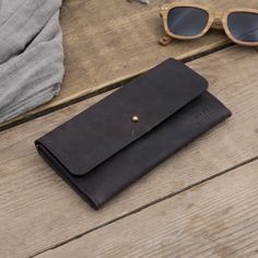 Leather Pixie Pouch/wallet - Eco Dark Brown available at www.suchandsuch.co