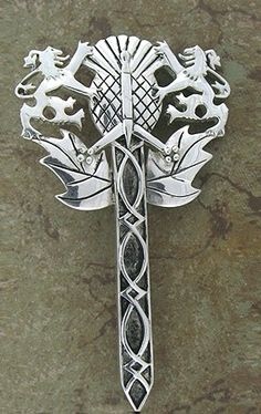 Pewter Rampant Lion, Thistle, Claymore Sword Kilt Pin
