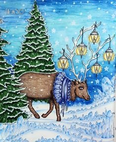 Couldn't wait till winter to color this deer! So here is a absolute winterpic in the middle of summer ! #Tidevarv #hannakarlzon #magiskgryning #magicaldawn #sommarnatt #dagdrömmar #arttherapy #colorindolivrostop #coloring_masterpieces #divasdasartes #nossa_vida_colorida #coloringmasterpiece#desenhoscolorir #coloring_secrets #coloringsecrets #artecomoterapia #prismacolor #fabercastell #supracolor #derwent #posca  #ellens #coloriagepouradultes #arte_e_colorir #coloringforadults…