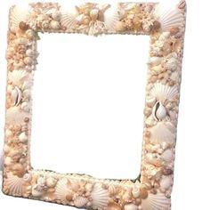 Rectangular Seashell Mirror.Coastal  decor 26x30 #unique