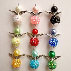 9x-Shambala-Style-Colourful-Shiny-Handmade-Guardian-Angel-Charms-Beads-Wings