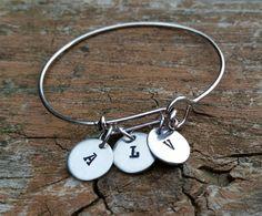 Hand Stamped bangle, personalized cuff, monogrammed bangle, custom bracelet,  personalized bracelet