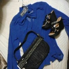 NWT tie neck blouse with bell sleeve sz M A lovely royal blue blouse with flowing bell sleeves and fashionable tie neck. NWT you will absolutely slay in the boardroom with this. Longer in the back than in front, wear tucked in or out. Its sheer so wear over a camisole. Cecico Tops Blouses