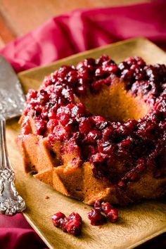 Cranberry Almond Cornmeal Bundt Cake is simple to make, but so tasty and stunning!